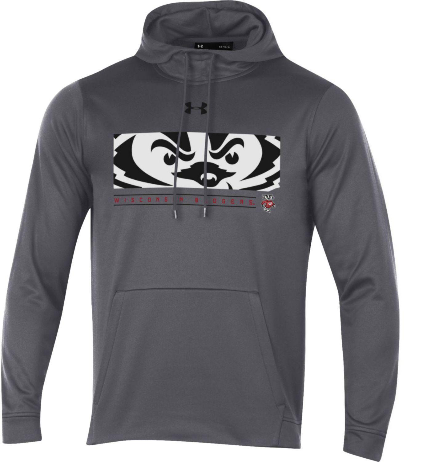 Under Armour Men's Wisconsin Badgers Grey Armourfleece Pullover Hoodie