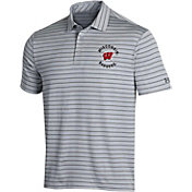 Under Armour Men's Wisconsin Badgers Grey Playoff Tour Striped Polo