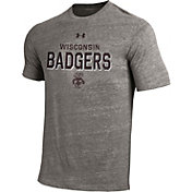 Under Armour Men's Wisconsin Badgers Grey Tri-Blend Short Sleeve Performance T-Shirt