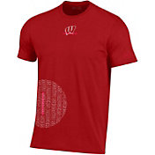 Under Armour Men's Wisconsin Badgers Red Hype Side Circle Performance Cotton Basketball T-Shirt