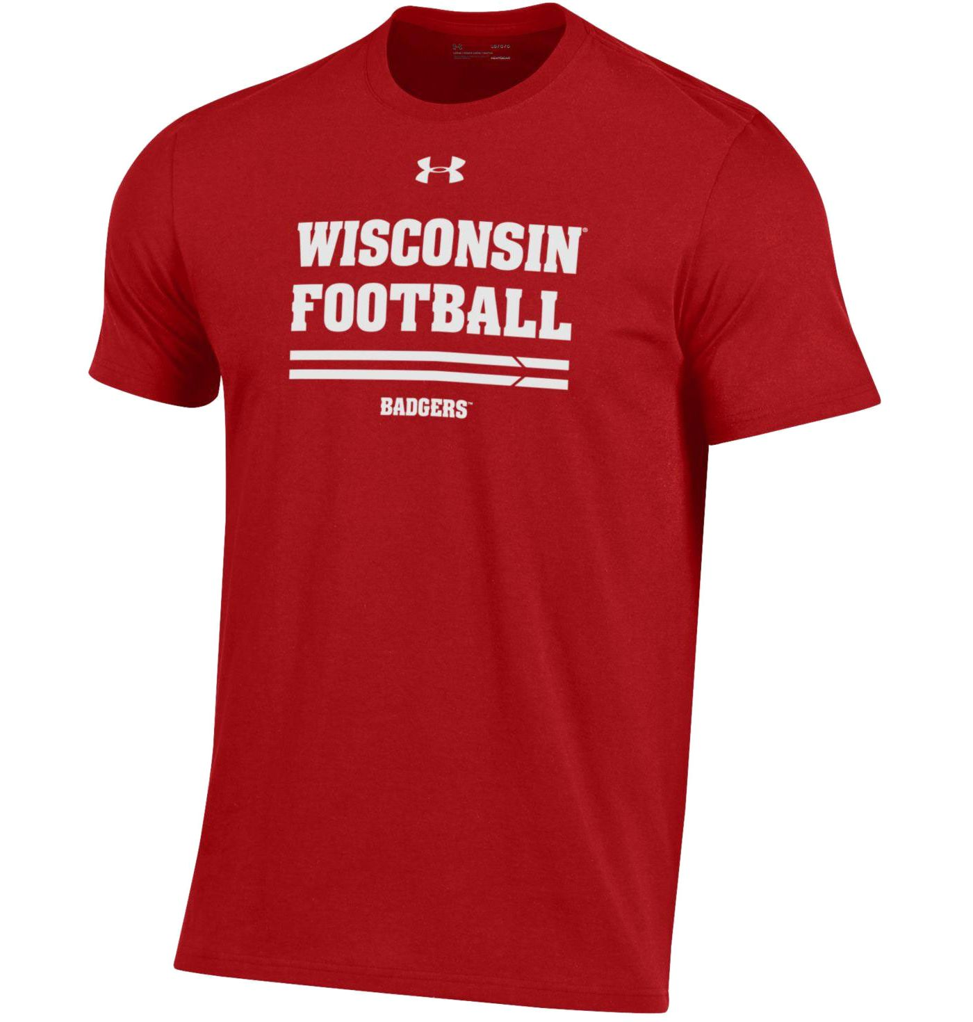 Under Armour Men's Wisconsin Badgers Red Football Performance Cotton T-Shirt