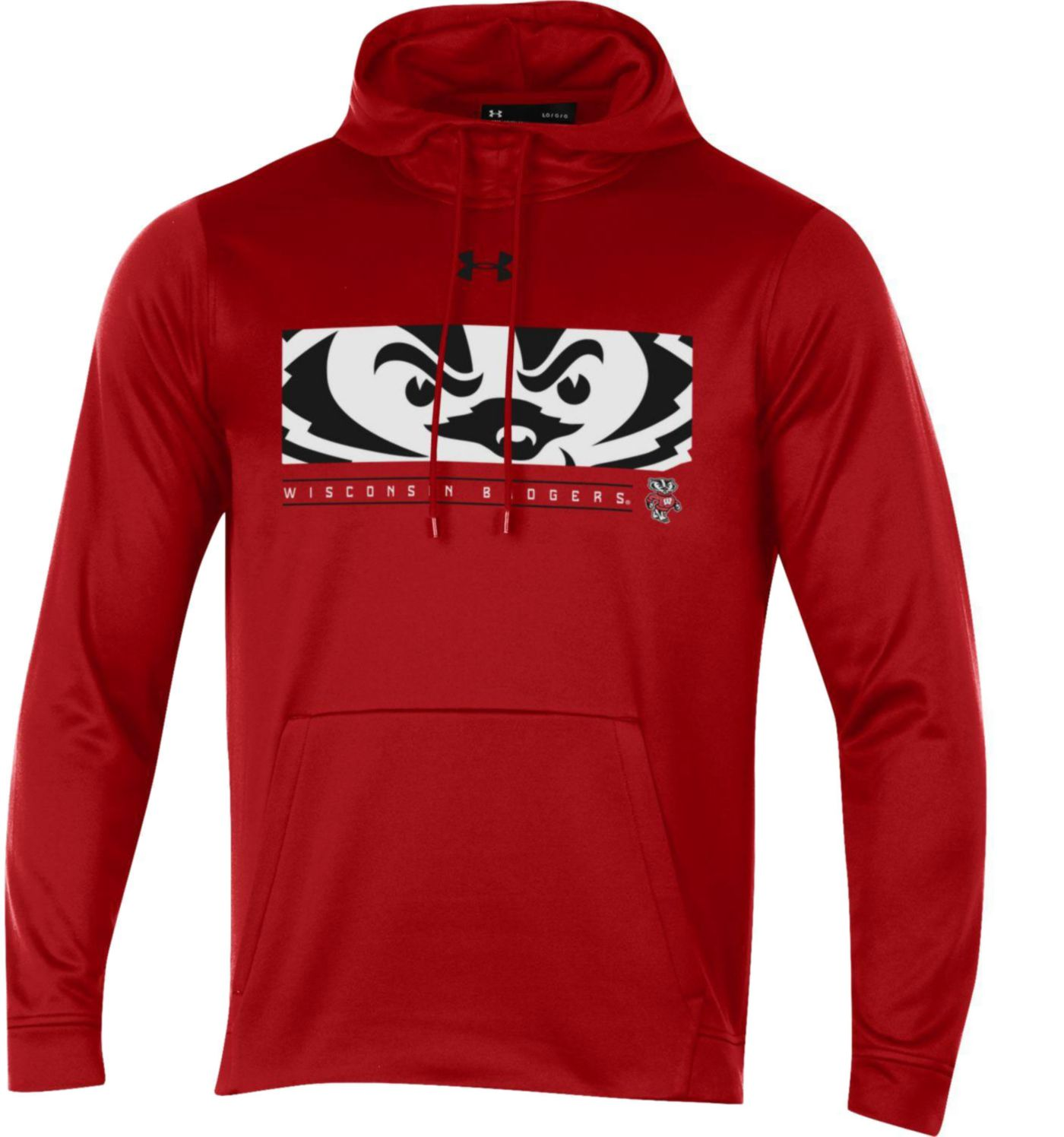 Under Armour Men's Wisconsin Badgers Red Armourfleece Pullover Hoodie