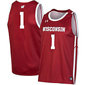 Under Armour Men's Wisconsin Badgers #1 Red Replica Basketball Jersey