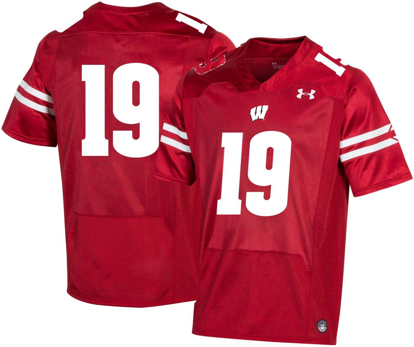 Under Armour Men's Wisconsin Badgers #19 Red Replica Football Jersey