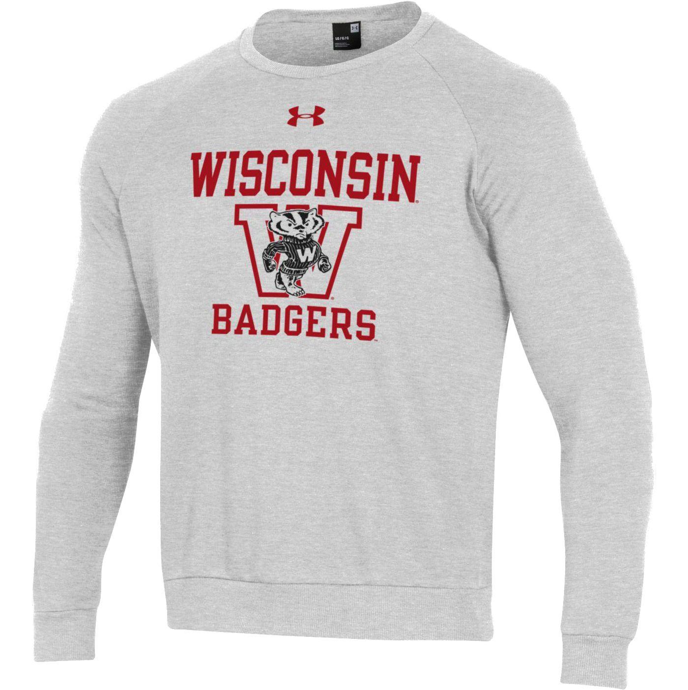 Under Armour Men's Wisconsin Badgers Grey All Day Fleece Crew Sweatshirt