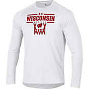 Under Armour Men's Wisconsin Badgers On-Court Tech Performance Long Sleeve Basketball White T-Shirt