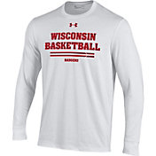 Under Armour Men's Wisconsin Badgers On-Court Performance Cotton Long Sleeve Basketball White T-Shirt