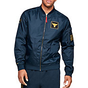 Under Armour Men's Project Rock Veteran's Day Bomber Jacket in Academy/Gold Rush