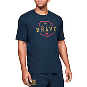 Under Armour Men's Project Rock Home Of The Brave Graphic T-Shirt (Regular and Big & Tall) in Academy/Gold Rush