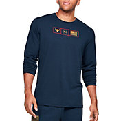 Under Armour Men's Project Rock Respect Graphic Long Sleeve Shirt (Regular and Big & Tall) in Academy/Gold Rush