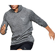Under Armour Men's Project Rock Tech Hooded Long Sleeve Shirt 2.0 (Regular and Big & Tall) in Pitch Gray/Pitch Gray