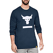 Under Armour Men's Project Rock Hardest Worker Graphic Long Sleeve Shirt in Academy/White