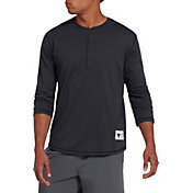 Under Armour Men's Project Rock Henley ¾ Sleeve Shirt in Black Full Heather/White