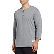 Under Armour Men's Project Rock Henley ¾ Sleeve Shirt in Pitch Gray Heather/White