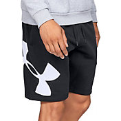 Under Armour Men's Rival Fleece Logo Sweat Shorts in Black/White