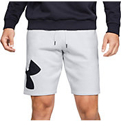 Under Armour Men's Rival Fleece Logo Sweat Shorts in Halo Gray/Black