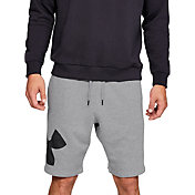 Under Armour Men's Rival Fleece Logo Sweat Shorts in Steel Light Heather/Black