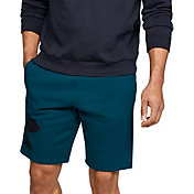 Under Armour Men's Rival Fleece Logo Sweat Shorts in Teal Vibe
