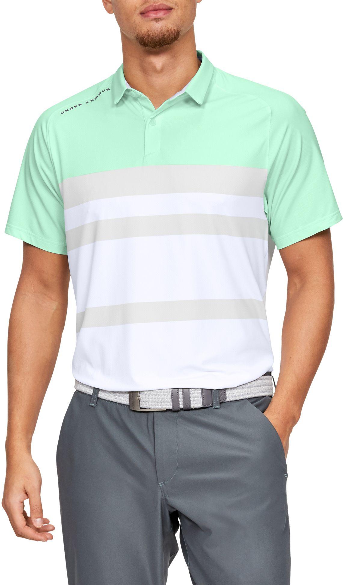 Under Armour Men's IsoChill Block Golf Polo, Size: Small, Aqua Foam thumbnail
