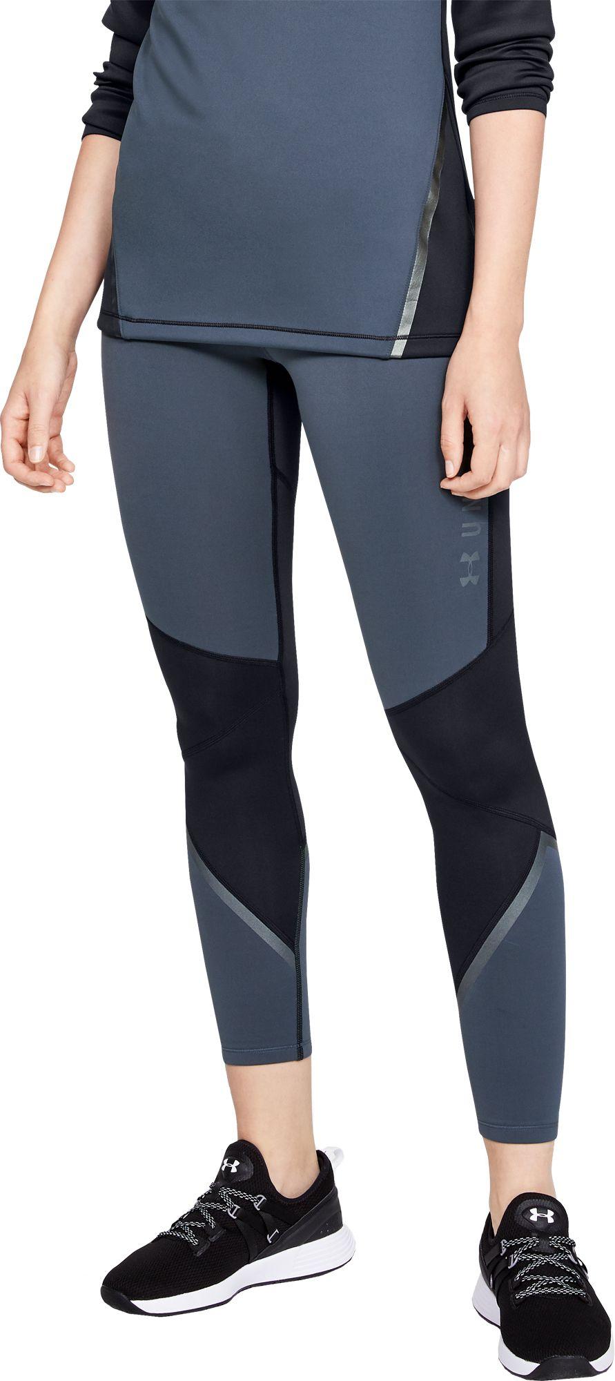 Under Armour Women's ColdGear Armour Graphic Leggings, Small, Downpour Gray/Black