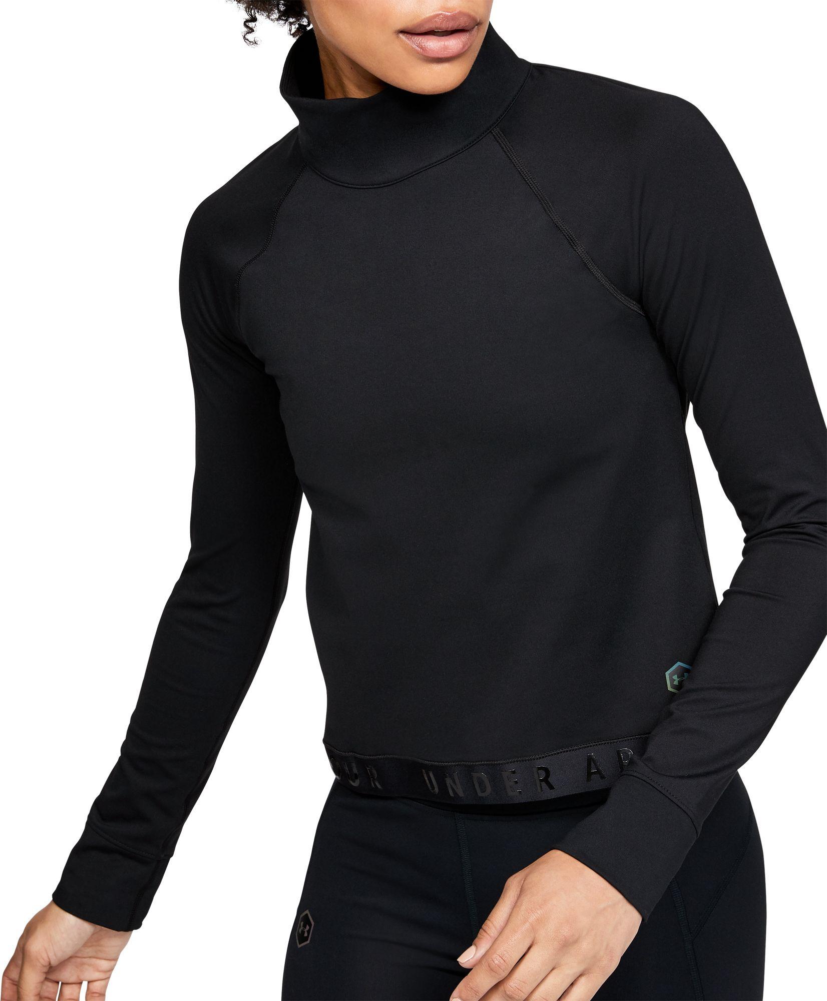 Under Armour Women's ColdGear RUSH Long Sleeve Shirt, XL, Black