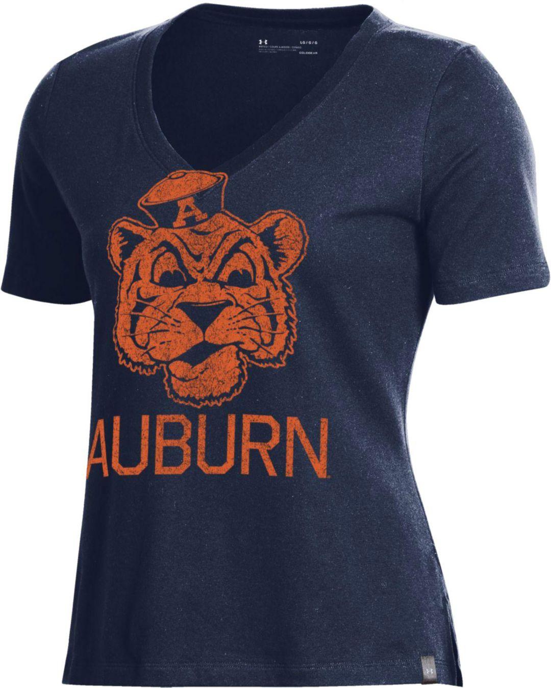 3119f58ee Under Armour Women's Auburn Tigers Blue Performance V-Neck T-Shirt
