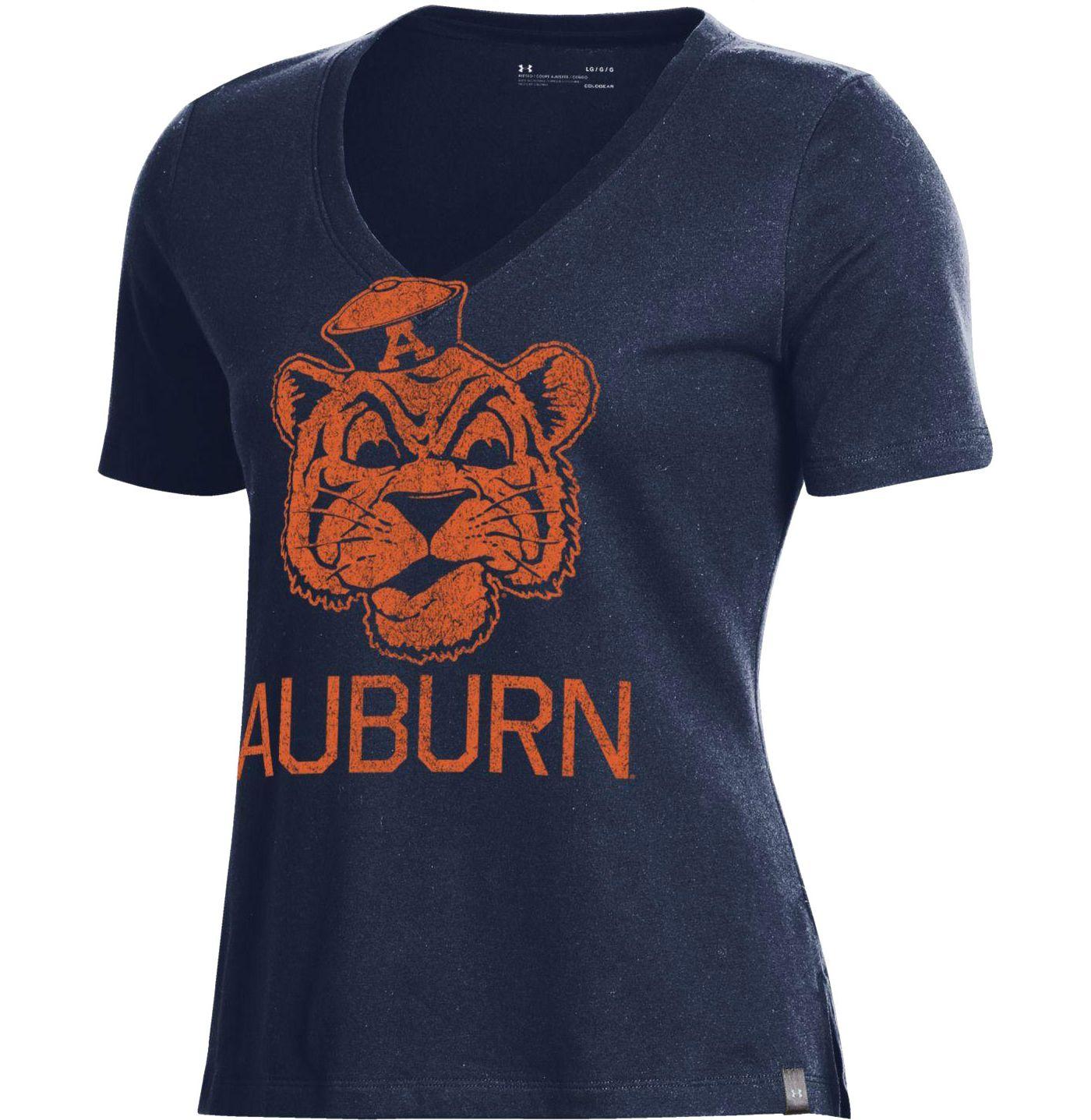 Under Armour Women's Auburn Tigers Blue Performance V-Neck T-Shirt