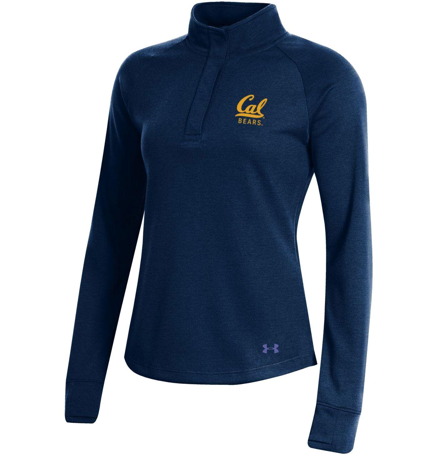 Under Armour Women's Cal Golden Bears Blue Double Knit Quarter-Snap Shirt