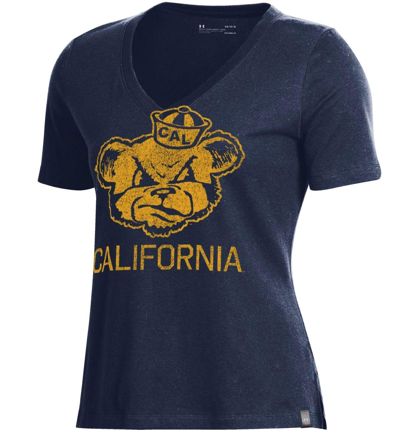 Under Armour Women's Cal Golden Bears Blue Performance V-Neck T-Shirt