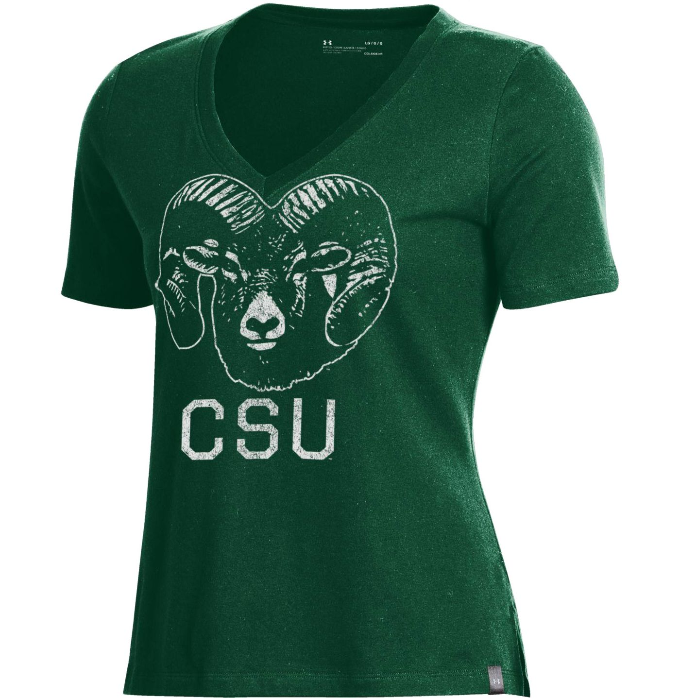 Under Armour Women's Colorado State Rams Green Performance V-Neck T-Shirt