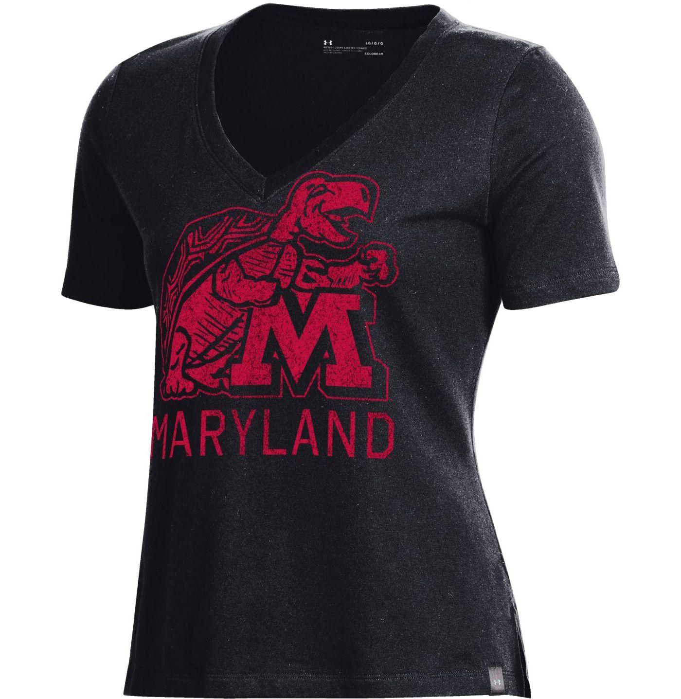 Under Armour Women's Maryland Terrapins Performance V-Neck Black T-Shirt