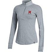 Under Armour Women's Maryland Terrapins Grey Charged Cotton Ascend Quarter-Zip Shirt