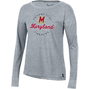 Under Armour Women's Maryland Terrapins Grey Performance Cotton Long Sleeve T-Shirt