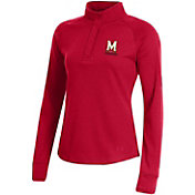 Under Armour Women's Maryland Terrapins Red Double Knit Jersey Quarter-Snap Shirt