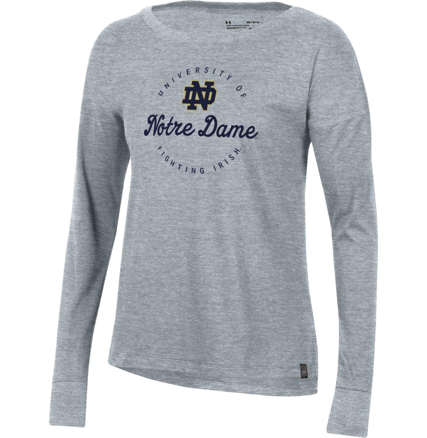 Under Armour Women's Notre Dame Fighting Irish Grey Performance Cotton Long Sleeve T-Shirt