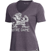 Under Armour Women's Notre Dame Fighting Irish Grey Performance V-Neck T-Shirt