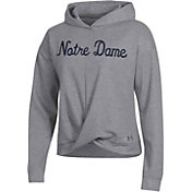 Under Armour Women's Notre Dame Fighting Irish Grey Wrap Pullover Hoodie