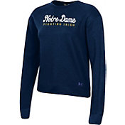 Under Armour Women's Notre Dame Fighting Irish Navy All Day Fleece Crew-Neck Sweatshirt