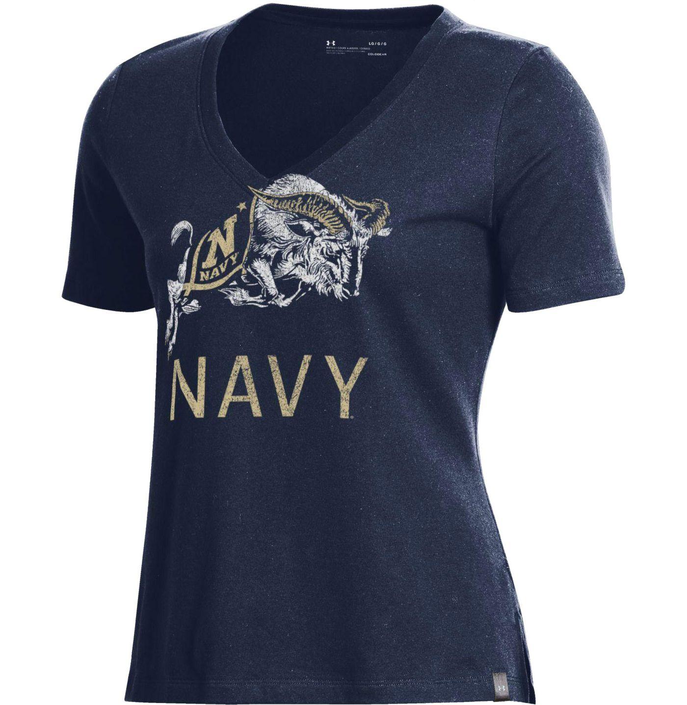 Under Armour Women's Navy Midshipmen Navy Performance V-Neck T-Shirt