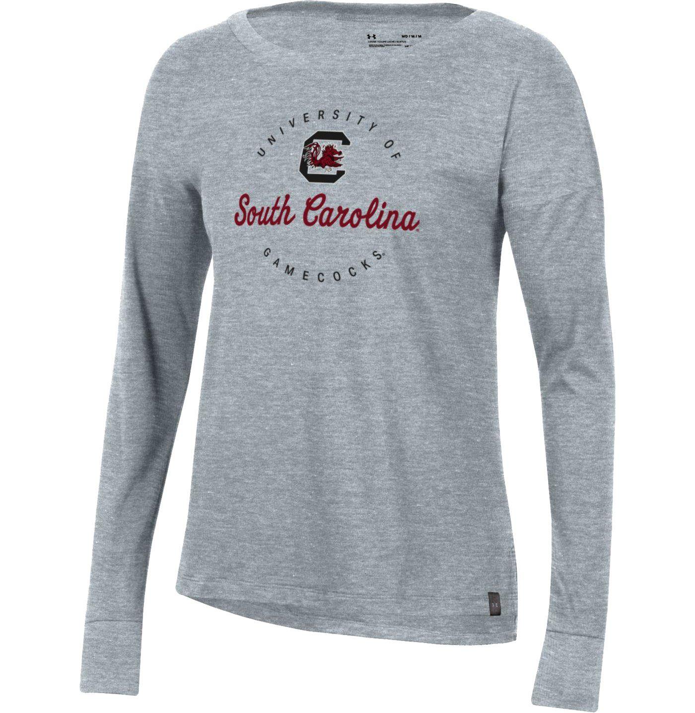 Under Armour Women's South Carolina Gamecocks Grey Performance Cotton Long Sleeve T-Shirt