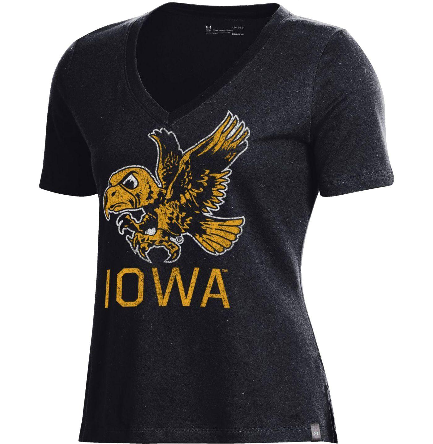 Under Armour Women's Iowa Hawkeyes Performance V-Neck Black T-Shirt