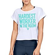 Under Armour Women's Project Rock Cropped Hardest Worker Graphic T-Shirt
