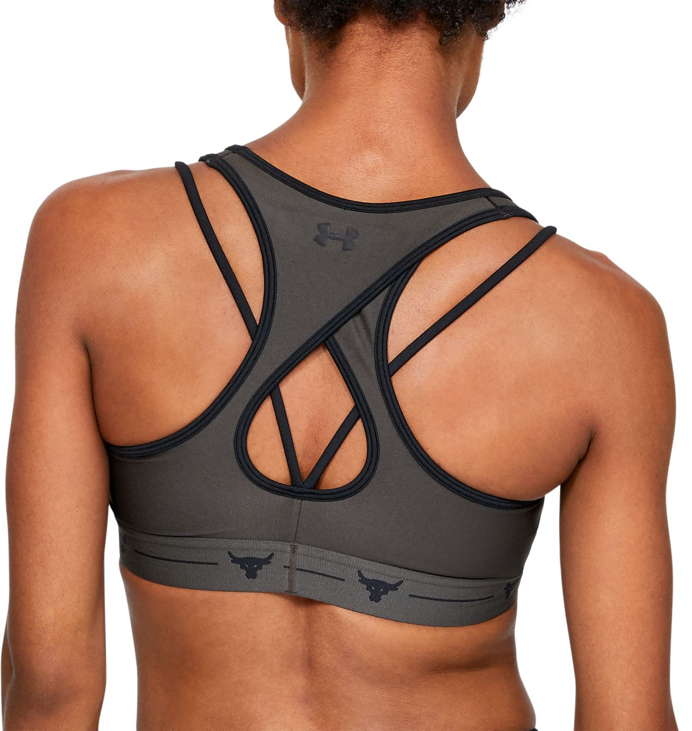 Under Armour Women's Project Rock Crossback Strappy Medium Support Sports Bra