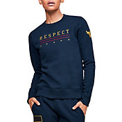 Under Armour Women's Project Rock Veteran's Day Graphic Fleece Crewneck Sweatshirt