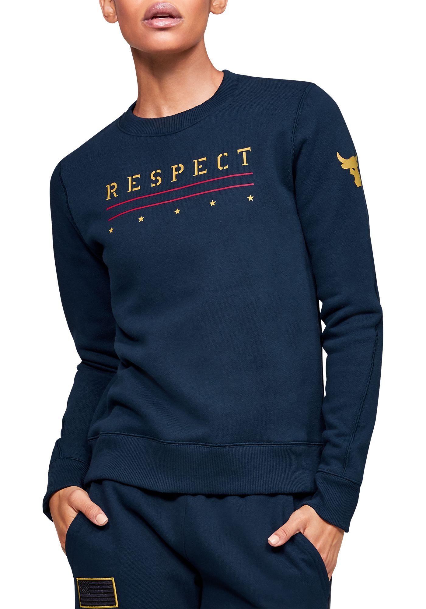 Under Armour Women's Project Rock Veteran's Day Graphic Fleece Crewneck Sweatshirt