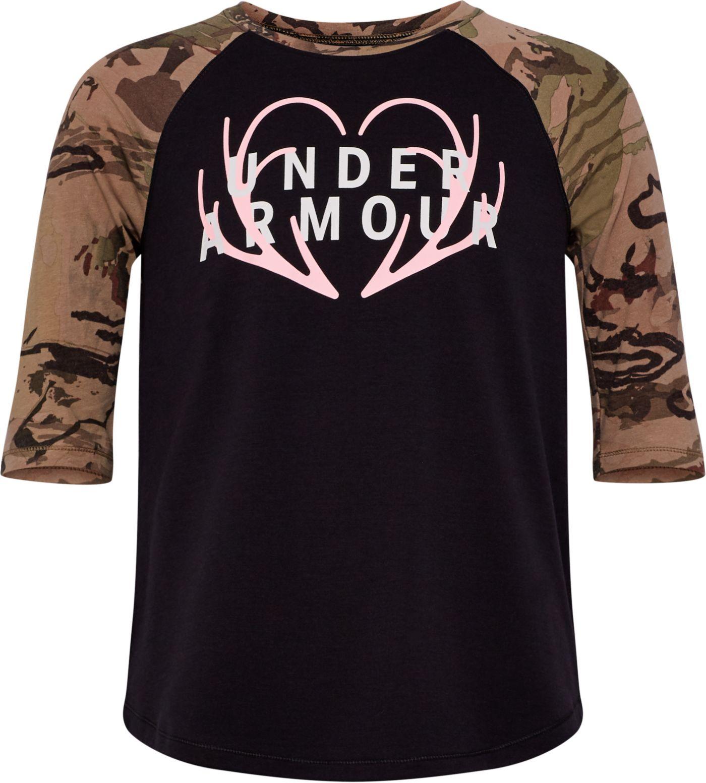 Under Armour Girls' Heart Logo 3/4 Length T-Shirt