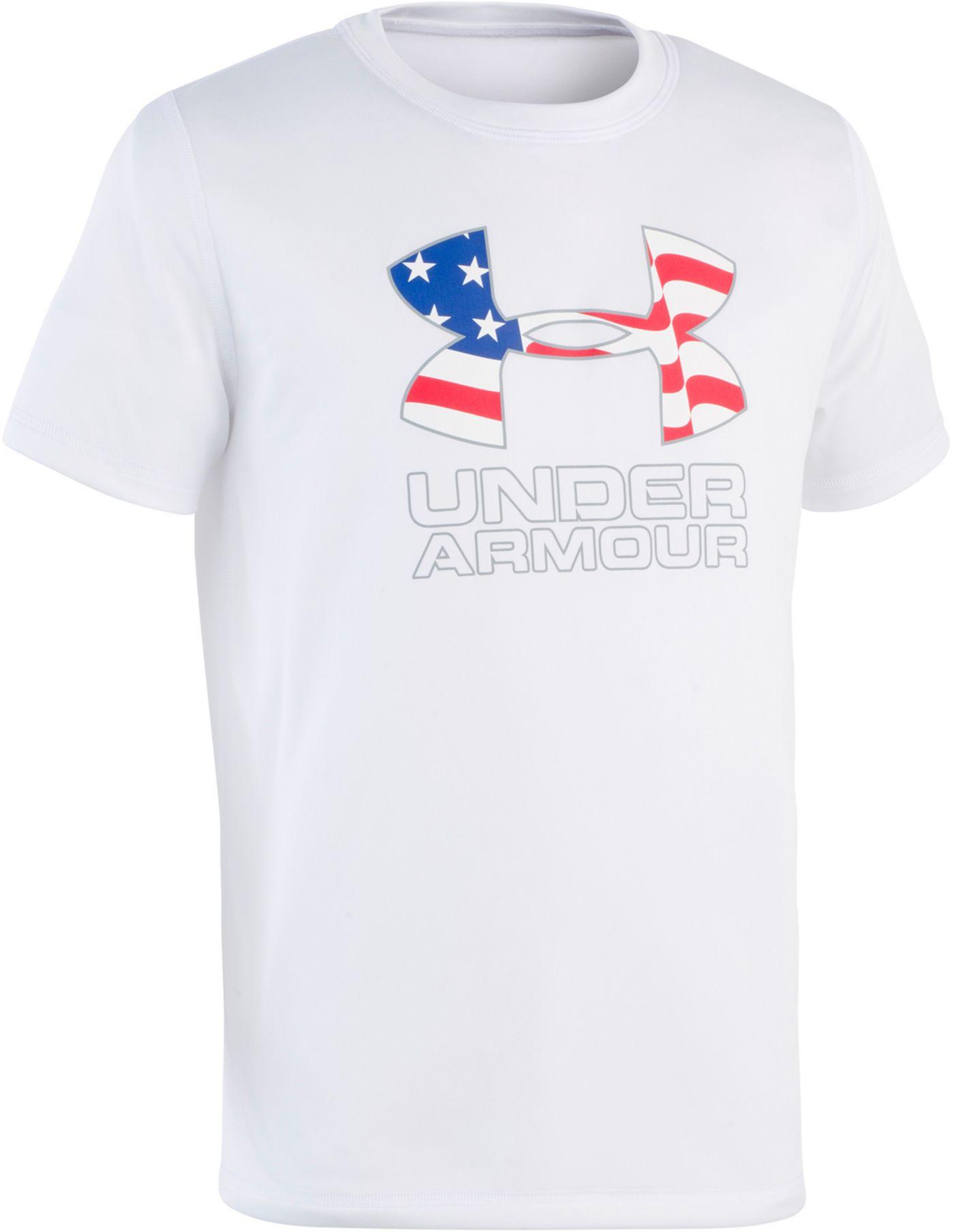 Under Armour Boys' Americana Logo Short Sleeve Rash Guard