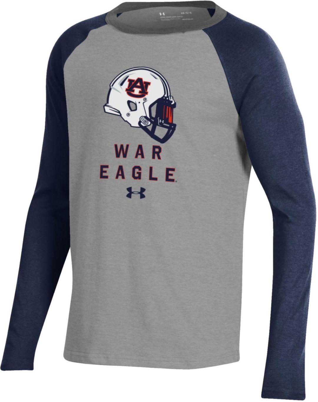 Under Armour Youth Auburn Tigers Grey Blue Performance Cotton Football T Shirt
