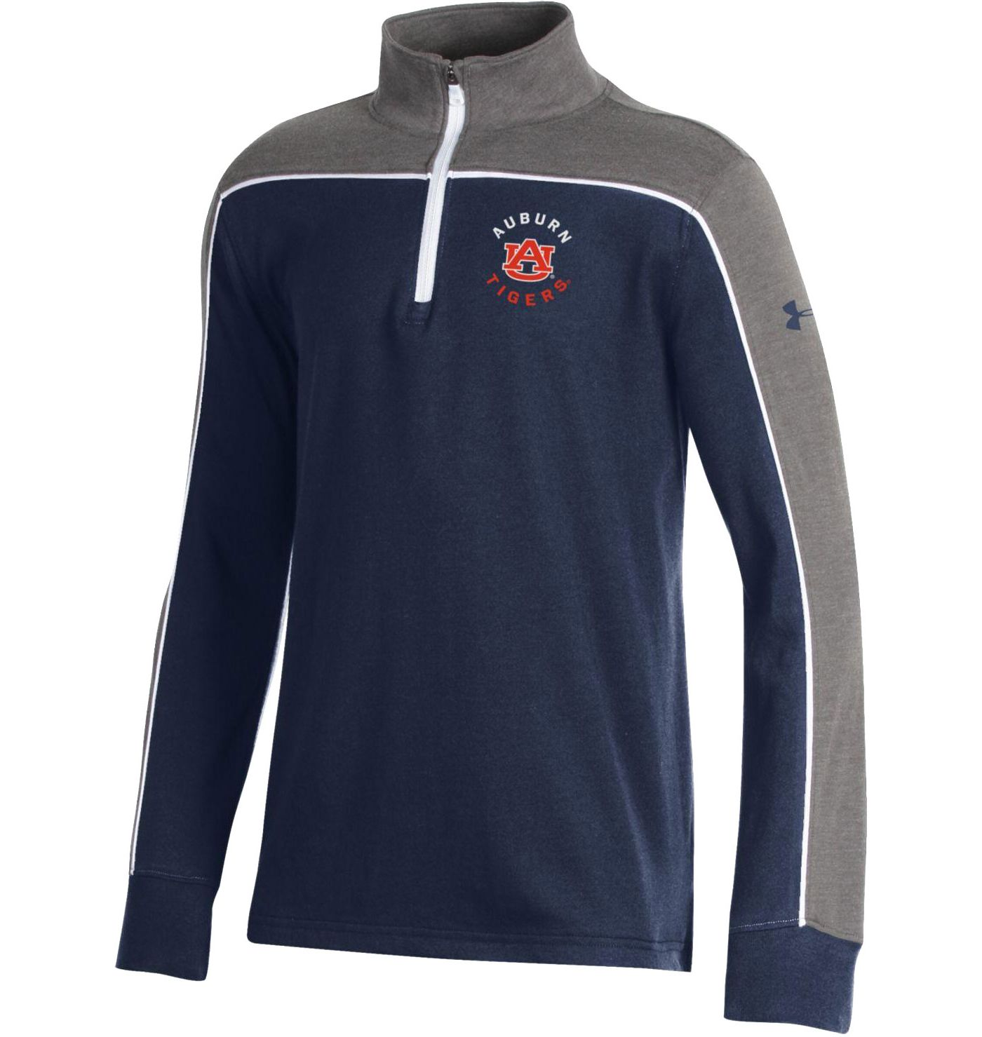 Under Armour Youth Auburn Tigers Blue Tri-Color Charged Cotton Quarter-Zip Shirt