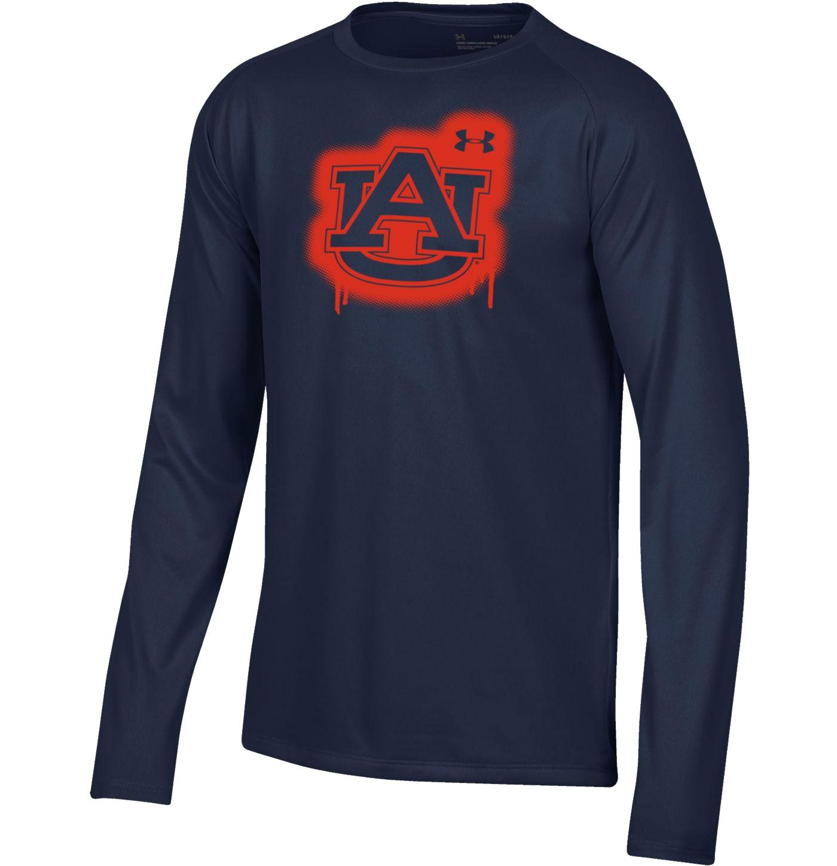 Under Armour Youth Auburn Tigers Blue Tech Performance Long Sleeve T-Shirt